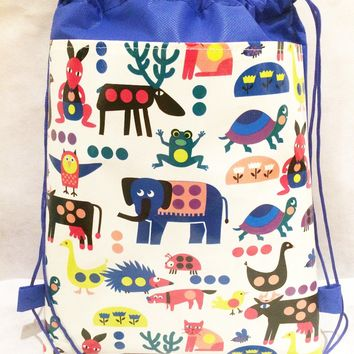 12pcs/lot children's backpack tote Toddler Kiids Drawstring waterproof non-woven School Bag for girls boys birthday gifts
