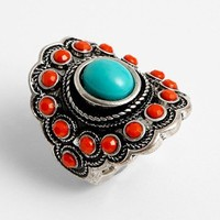 BP. Turquoise & Coral Vintage Ring | Nordstrom