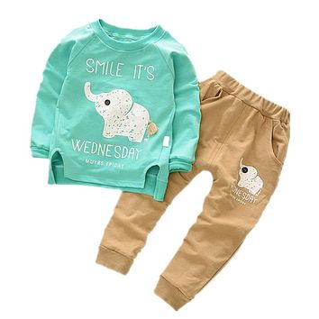 Baby Clothing Set Boys Girls Cartoon Elephant Clothes Sets T-shirt+Pants Sets 2017 Summer Fall Long Sleeve Cotton Suit 1-4Y