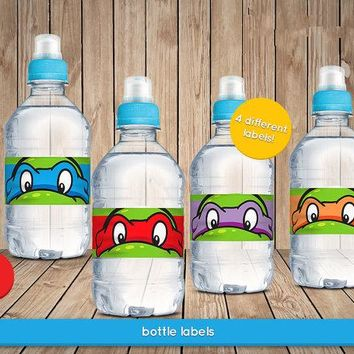 Teenage Mutant Ninja Turtles Bottle Water Labels,wrappers, Baby Shower ,Birthday party decorations kids, Party supplies