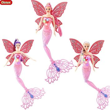 Oenux Fashion Luminescent Mermaid Doll Toy LED Princess Swimming Mermaid Dolls Bonecas Can Put In The Water For Girls Xmas Gift