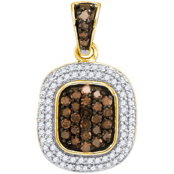 Cognac Diamond Micro-pave Pendant in 10k Gold 0.5 ctw
