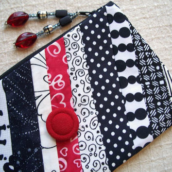 CLEARANCE - Lined Zipper Bag Pouch - Slash of Red Zippy - Red, White, Black