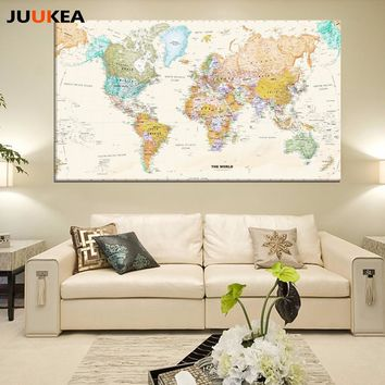 Hot Sale Classic Vintage World Map No Frame Canvas Painting Art Vintage Poster Wall Picture Nordic Home decoration Living Room