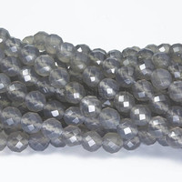 faceted gray agate beads - natural grey agate round beads - gray gemstone beads for jewlery making - natural agate beads wholesale  -15inch