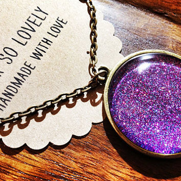 large periwinkle starry skies necklace- handmade blue violet purple sparkly metallic nickel free necklace