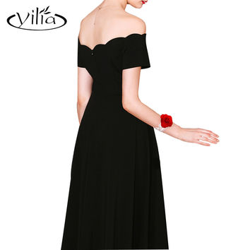 Elegant Off Shoulder Women Dress High Waist Gown Dresses yilia Party Black Red Slim Flared Tunic Corrugated Neckline Dress