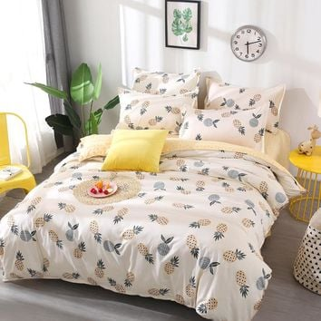 Fruit pineapple Bedding Set Quilt Cover queen full King Size children cartoon duvet cover Set yellow and white Bedclothes 26