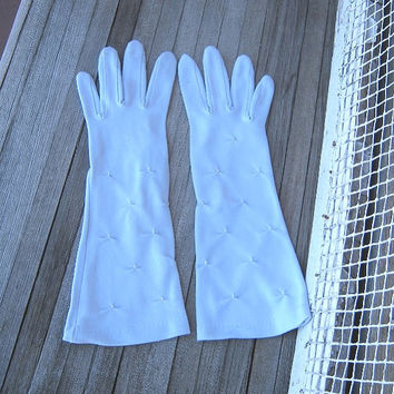 "Light Blue Long Vintage Gloves - Little White Bead-Embellished Pastel Blue Gloves; 12"" Long - Small-Med Baby Blue Gloves - Event/Prom Gloves"