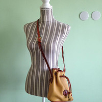 Dooney and Bourke Real Leather Crossbody Bag, Mustard Yellow Brown Drawstring Purse, Vintage 80s Pebbled Leather Mini Bag, Small Bucket Bag
