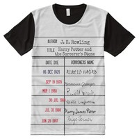 Library Due Date Card T-shirt - Harry Potter Title