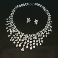 White Clear Wedding Necklace set AAA Cubic Zircon Jewelry Sets