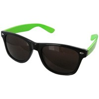 Black and Neon Green Two Tone Wayfarer Sunglasses | Kaboodle