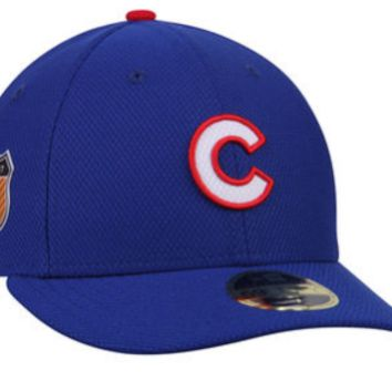 Men's Chicago Cubs New Era Blue Spring Training MLB17 Side Patch Diamond Era Low Profile 59FIFTY Fitted Hat