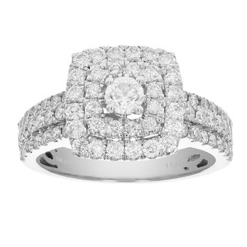 0.23 Carats 1 3/4 CT Diamond Wedding Engagement Ring Set 14K White Gold