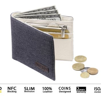 MEKU Men's RFID Blocking Slim Bifold Canvas and Leather Wallet with Coin Pocket 2 Bill Sections Black