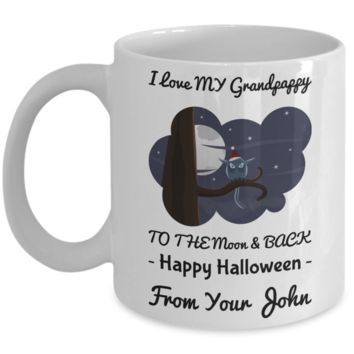Funny Halloween Mug - Personalization Gift For Granddas & Grandparents - Happy Halloweenie Moon & Back Owl Coffee Cup