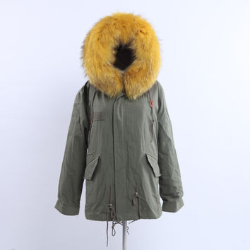 Full Fox Fur Reversible Jacket Yellow