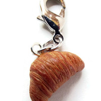 Polymer Clay Croissant Key Chain - Realistic Croissant Charm - Miniature French Croissant
