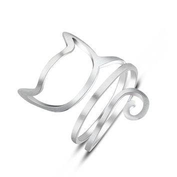 Sterling Silver Wound Cat Ring
