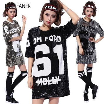 DANJEANER Woman Club Dresses 2019 Sequin T Shirt Dress Plus Size Loose Tee Shirts Glitter Tops Summer Dress Sequin Casual Tops