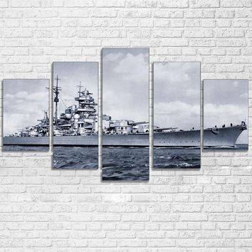 Black and White WW2 Navy Destroyer Canvas