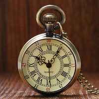 Vintage Simple Style Steampunk Beige Dial Roman Numbers Small Pocket Watch Necklace Pendant with Chain Reloj De Bolsillo P96