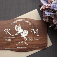 Wood Wedding Congratulations Card - Wooden Wedding Cards - Monogram Names