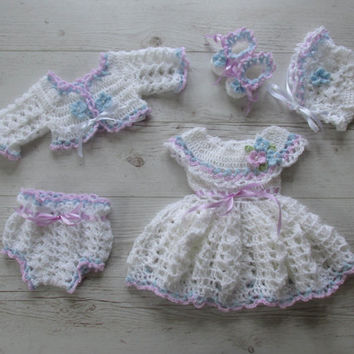 Baby Girl Outfit, Crochet Baby dress, Hat, Bolero, Shoes and Diaper Cover in white purple and blue