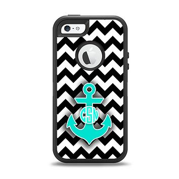 The Teal Green Monogram Anchor on Black & White Chevron Apple iPhone 5-5s Otterbox Defender Case Skin Set