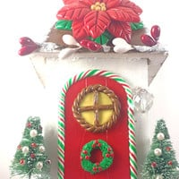 Christmas fairy garden house and accessories kit.  4 each-red fairy lights, snowflake stepping stones9 pieces + free gift..