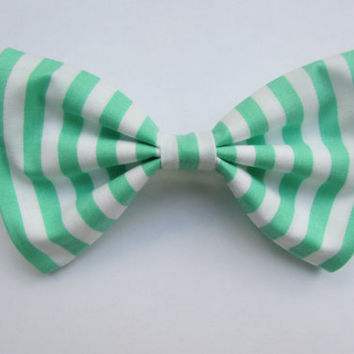 Nautical Preppy Green and White Candy Striped Hair Bow
