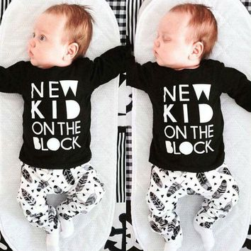 New Casual Newborn Baby Boys Girl Clothes Sets Cotton Tops T-shirt Pants Fashion 2pcs Outfits Clothes 3 6 9 12 18 24 Monthes