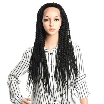 Long Senegalese Twist Lace Frontal Wigs 350g Synthetic Afro Braiding for African American women