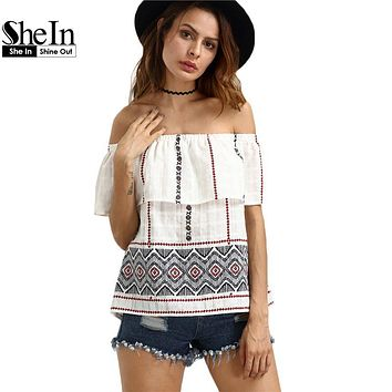 SheIn Womens Tops Fashion Off The Shoulder Blouse Summer Style Multicolor Ruffle Half Sleeve Vintage Blouses