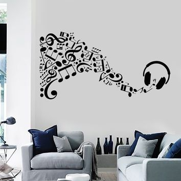 Vinyl Wall Decal Headphones Musical Notes Music Art Stickers Unique Gift (ig4134)