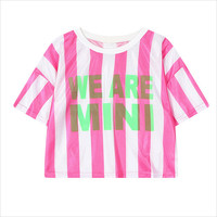Pink Vertical Striped Cropped T-Shirt