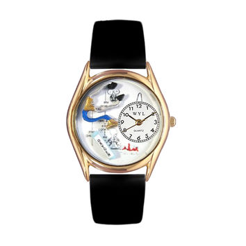 Whimsical Watches Healthcare Nurse Appreciation Gift Accessories Respiratory Therapist Black Leather And Goldtone Watch
