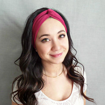 Turban Headband, Jersey Headband, Twist Headwrap, Bohemian Hair Accessories, Cranberry Headband