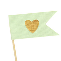 Mint and gold heart flag cupcake toppers / party picks