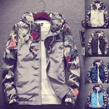 Spring and Summer Fashion Floral Bomber Jacket Men Hip Hop Slim Fit Flowers Pilot Bomber Jacket Coat Men's Hooded Jackets Plus S
