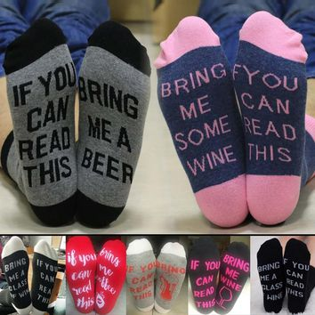 Humorous Socks If You Can Read This Bring Me Wine Jacquard Cotton Socks Funny Winter Casual Women Men Socks For Beer Wine Lovers
