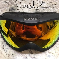 New! RARE Auth. Gucci Ski Goggles M00502 GG 1653. Black & Orange. Bag, Cards Box | eBay