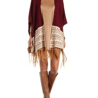 Burgundy Cmb Patterned Fringe Poncho Sweater by Charlotte Russe