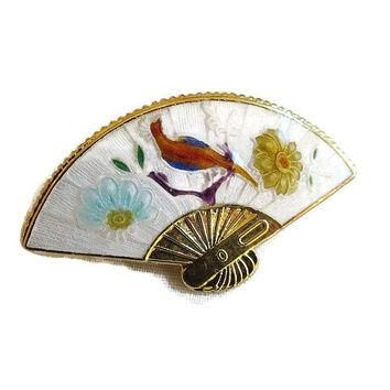 Vintage Guilloche Enamel Fan Brooch or Pin with Peacock Bird & Flowers