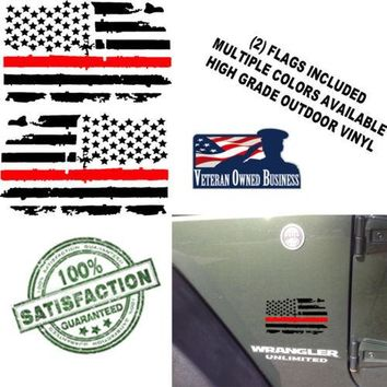 (2) Distressed Thin RED Line USA Flags Vinyl Decals