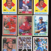 Vintage Baseball Cards 1982 -1988 Topps,Fleer, 9 card lot featuring Pete Rose,Wade Boggs,Don Mattingly, Phil Niekro,Lou Pinella