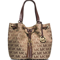 Jet Set Logo Jacquard Gathered Tote Bag, Beige/Ebony/Mocha - MICHAEL Michael Kors