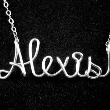Sterling Silver Personalized Name Necklace, Wire Name Necklace, Personalized Namplate Necklace, Name Plate Necklace