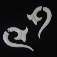 Bone Carving Fake Gauge Earrings, Tribal White Tapers FGB0014